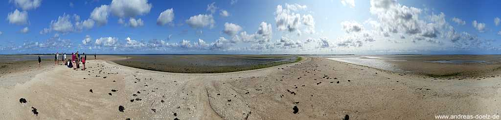 360 Grad Panorama Wattwanderung Komoran-Insel Amrum
