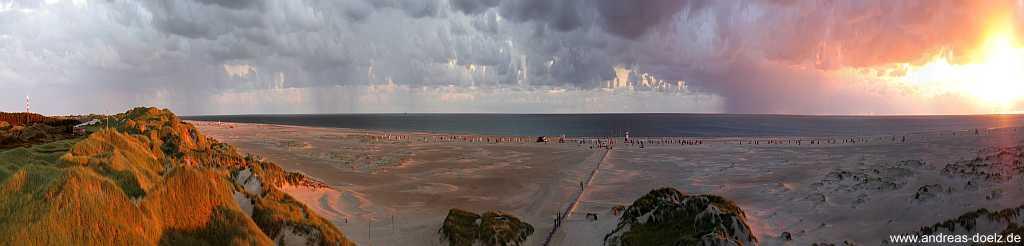 Panorama Abendstimmung Kniepsand Nebel Amrum