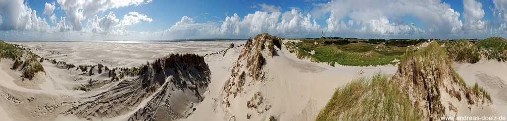 360 Grad Panorama Kniepsand Leuchtturm Amrum